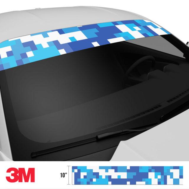 Hyper Blue Digital Camo Windshield Sun Strip Side 2