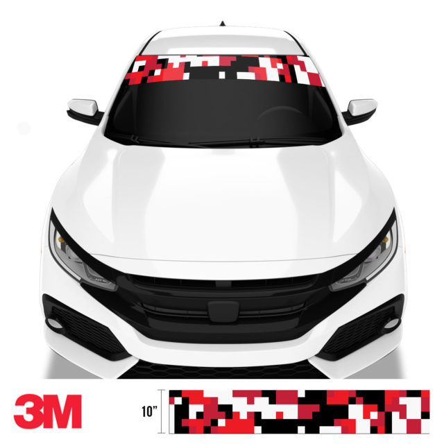 Imperial Red Digital Camo Windshield Sun Strip Front