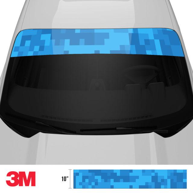 Intense Blue Digital Camo Windshield Sun Strip Front 2
