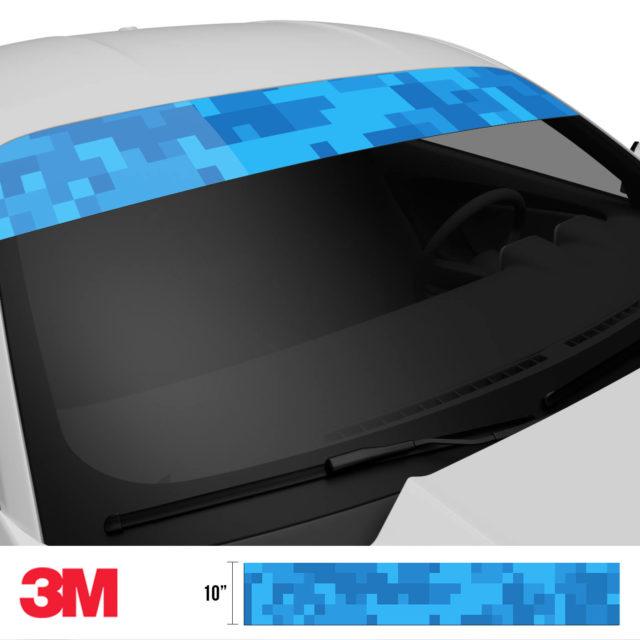 Intense Blue Digital Camo Windshield Sun Strip Side 2