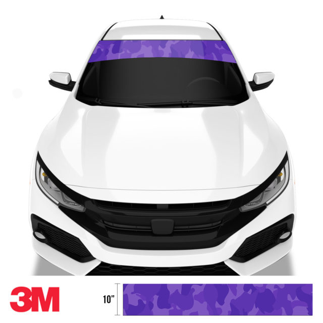 Intense Purple Camo Windshield Sun Strip Front