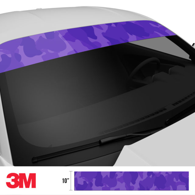 Intense Purple Camo Windshield Sun Strip Side 2
