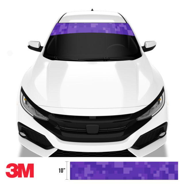 Intense Purple Digital Camo Windshield Sun Strip Front