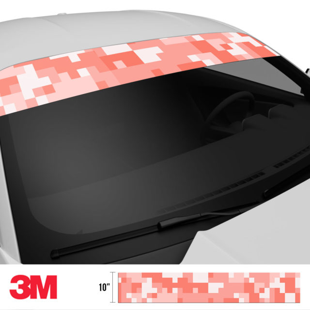 Intense Salmon Digital Camo Windshield Sun Strip Side 2