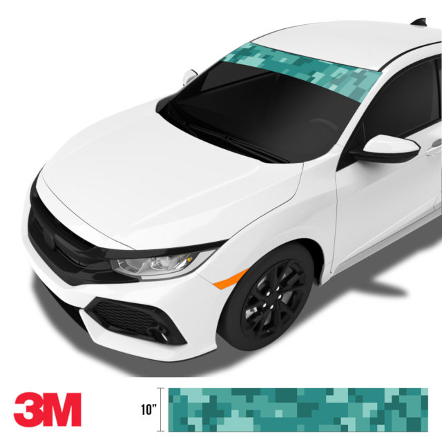 Intense Sea Green Digital Camo Windshield Sun Strip Side