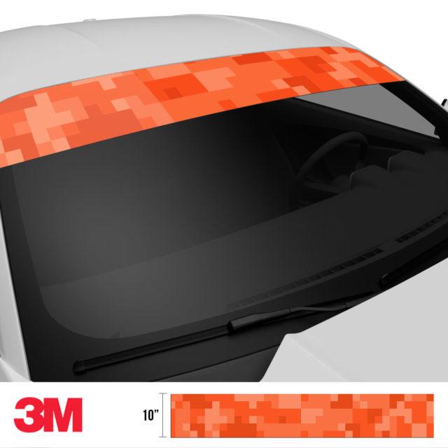 Intense Tangerine Digital Camo Windshield Sun Strip Side 2