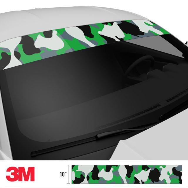 Iron Green Camo Windshield Sun Strip Side 2