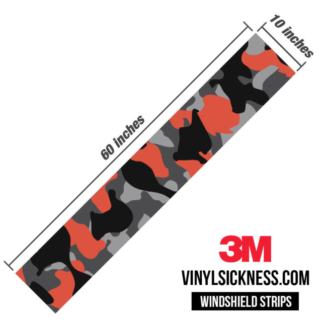 Iron Orange Camo Windshield Sun Strip Dimension
