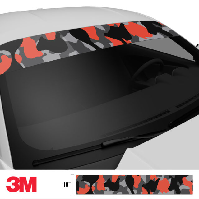 Iron Orange Camo Windshield Sun Strip Side 2
