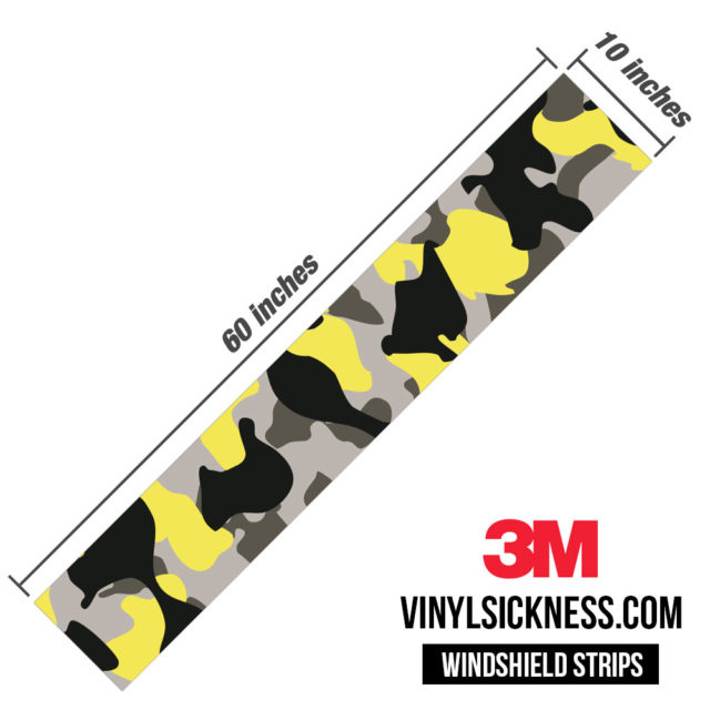 Iron Yellow Camo Windshield Sun Strip Dimension