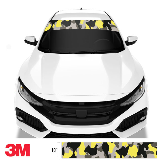 Iron Yellow Camo Windshield Sun Strip Front