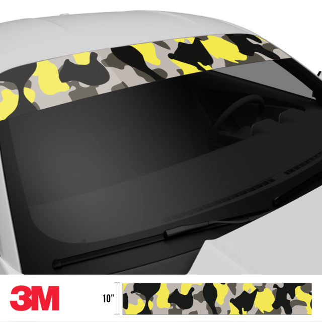 Iron Yellow Camo Windshield Sun Strip Side 2