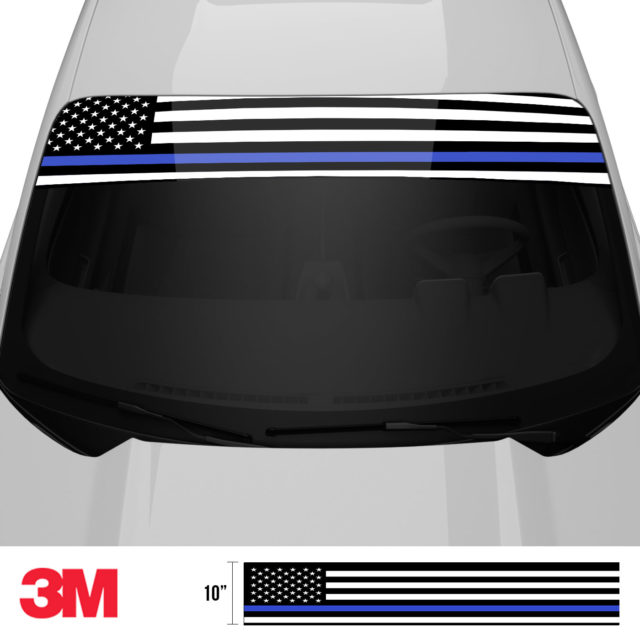Jdm Premium Windshield Strip Banner American Flag Blue Line2 Front 2