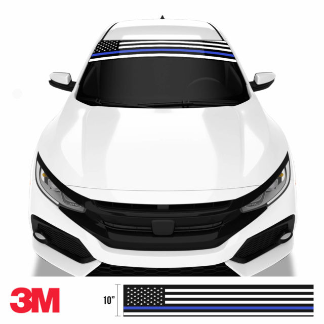 Jdm Premium Windshield Strip Banner American Flag Blue Line2 Front