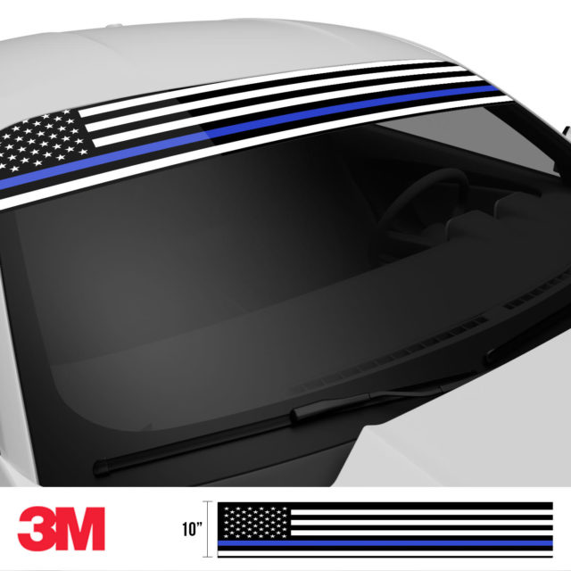 Jdm Premium Windshield Strip Banner American Flag Blue Line2 Side 2