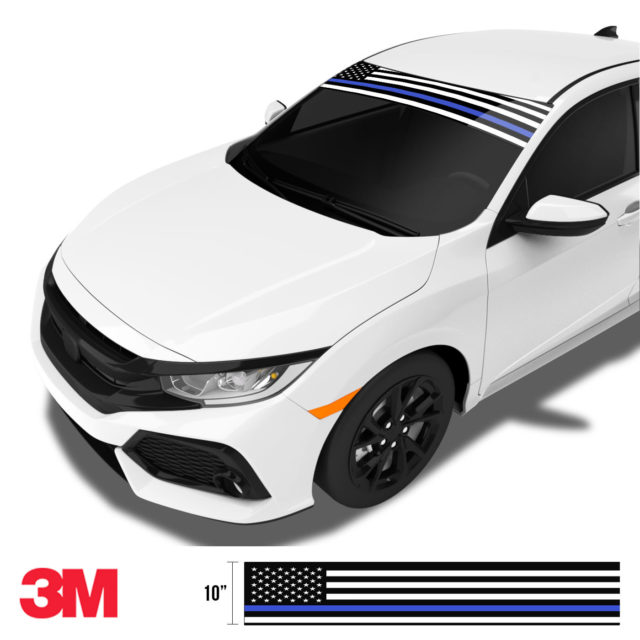 Jdm Premium Windshield Strip Banner American Flag Blue Line2 Side
