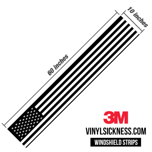 Jdm Premium Windshield Strip Banner American Flag Bw Dimension