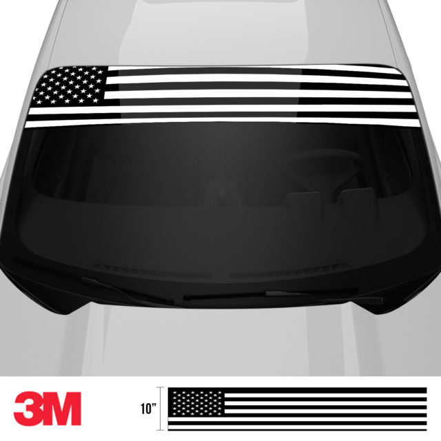 Jdm Premium Windshield Strip Banner American Flag Bw Front 2