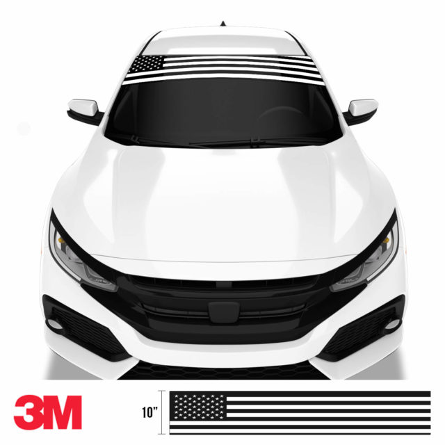 Jdm Premium Windshield Strip Banner American Flag Bw Front