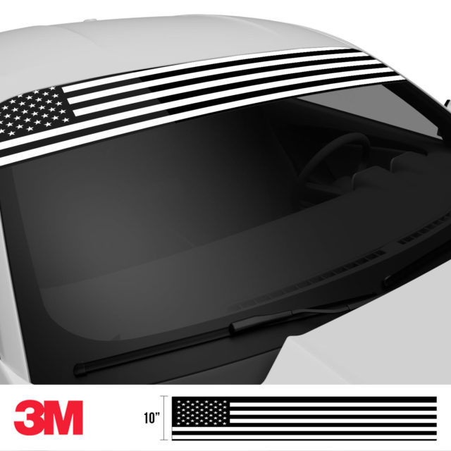 Jdm Premium Windshield Strip Banner American Flag Bw Side 2