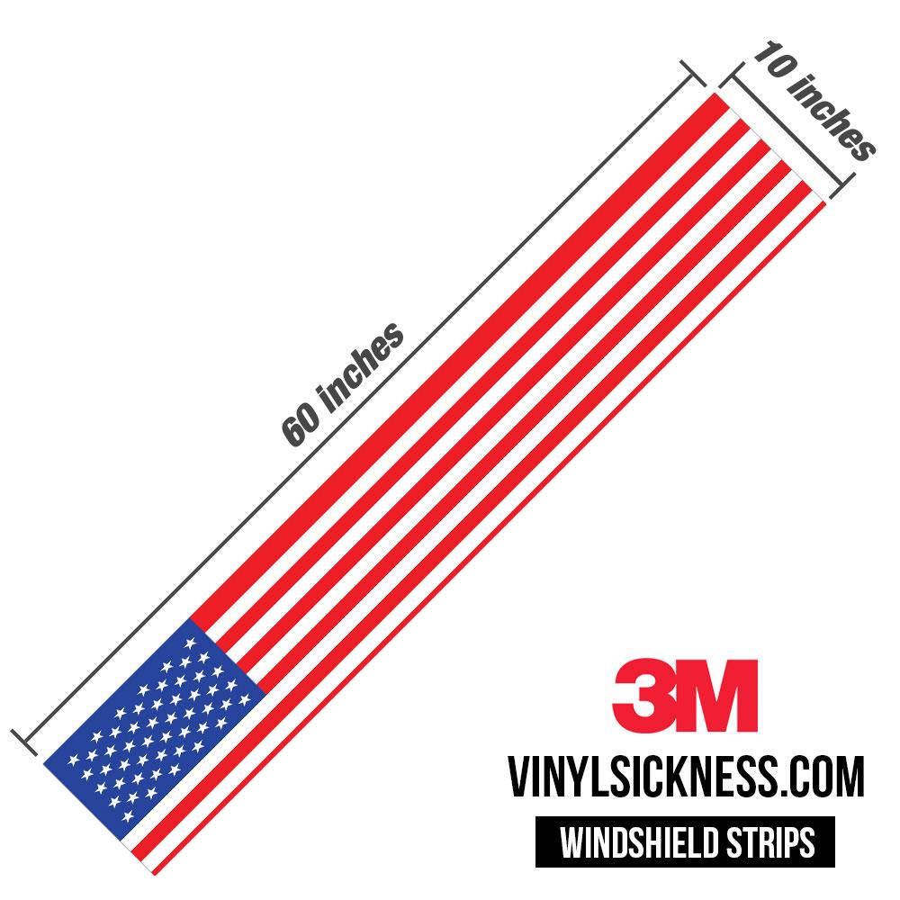 American Flag Windshield Banner Sun Strip Vinyl Sickness