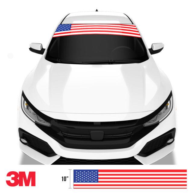 Jdm Premium Windshield Strip Banner American Flag Color Front