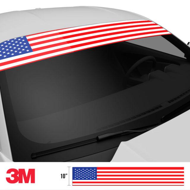 Jdm Premium Windshield Strip Banner American Flag Color Side 2