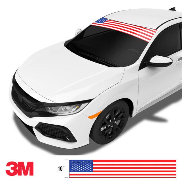 Jdm Premium Windshield Strip Banner American Flag Color Side