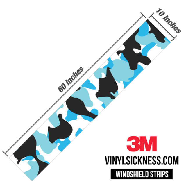 Jdm Premium Windshield Strip Banner Camo Aqua Dimensions