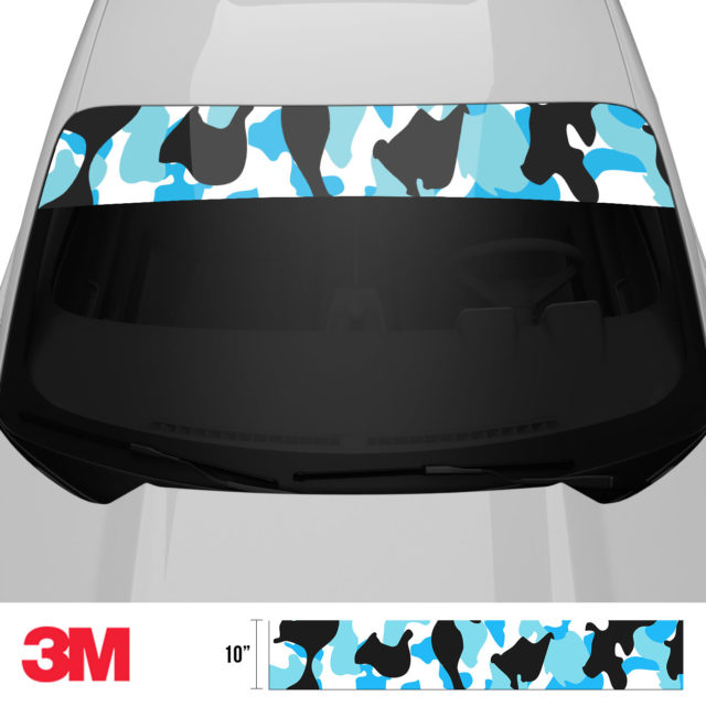 Jdm Premium Windshield Strip Banner Camo Aqua Front 2