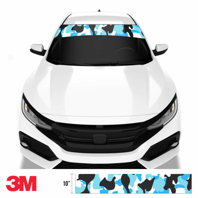 Jdm Premium Windshield Strip Banner Camo Aqua Front