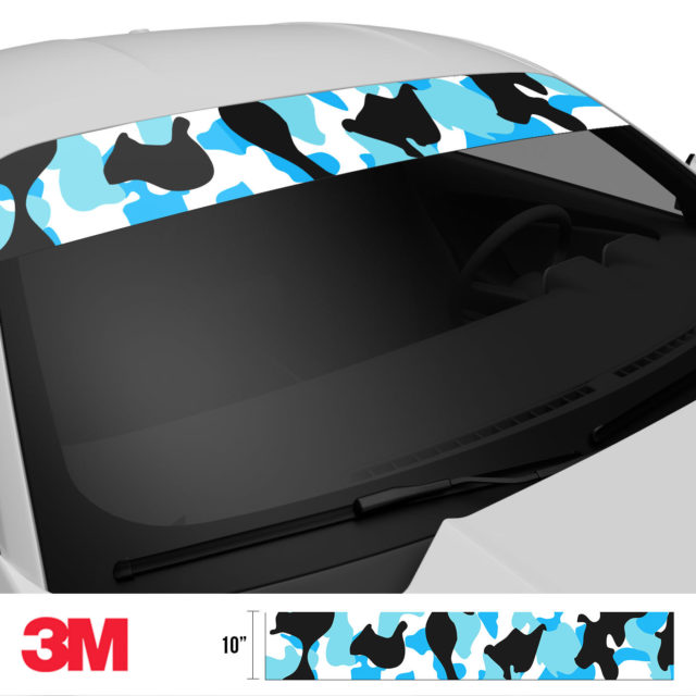 Jdm Premium Windshield Strip Banner Camo Aqua Side 2