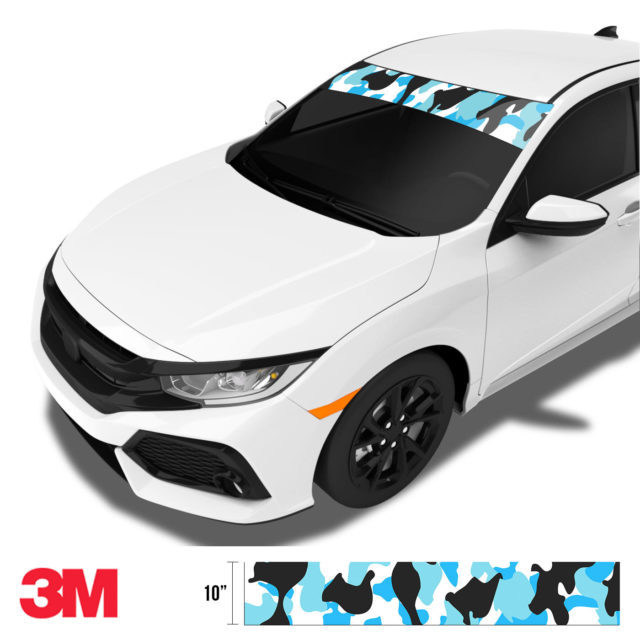Jdm Premium Windshield Strip Banner Camo Aqua Side
