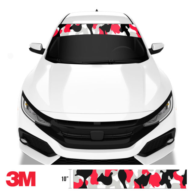 Jdm Premium Windshield Strip Banner Camo Black Red Front