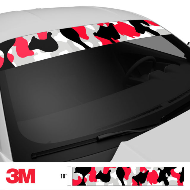 Jdm Premium Windshield Strip Banner Camo Black Red Side 2