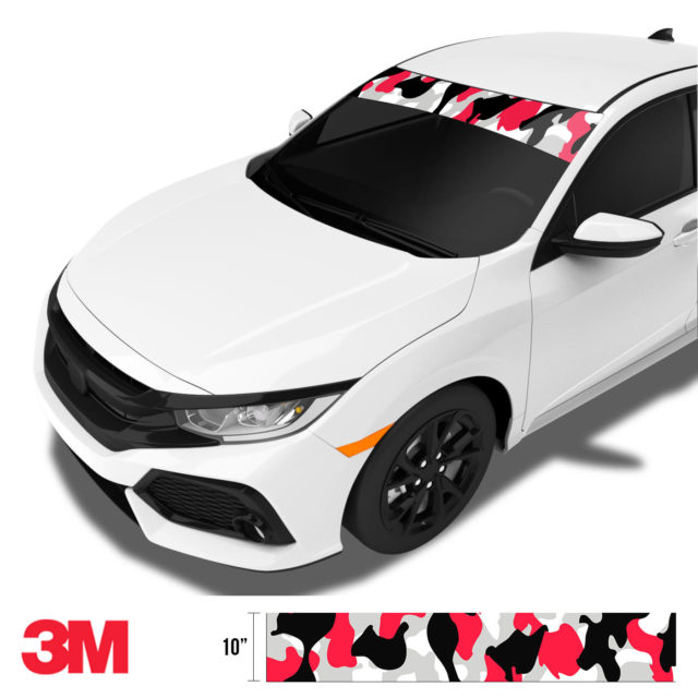Jdm Premium Windshield Strip Banner Camo Black Red Side