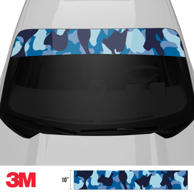 Jdm Premium Windshield Strip Banner Camo Blue Night Front 2