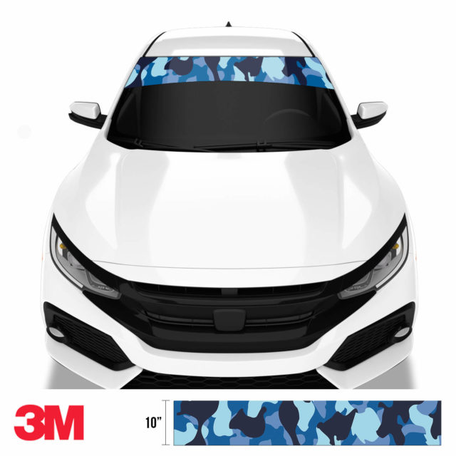 Jdm Premium Windshield Strip Banner Camo Blue Night Front