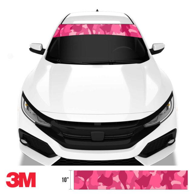 Jdm Premium Windshield Strip Banner Camo Candy Pink Front