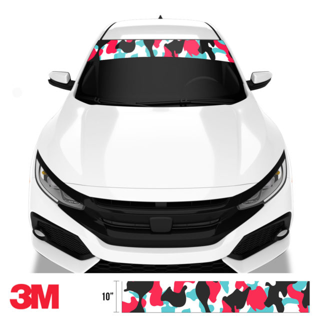 Jdm Premium Windshield Strip Banner Camo Cotton Candy Front