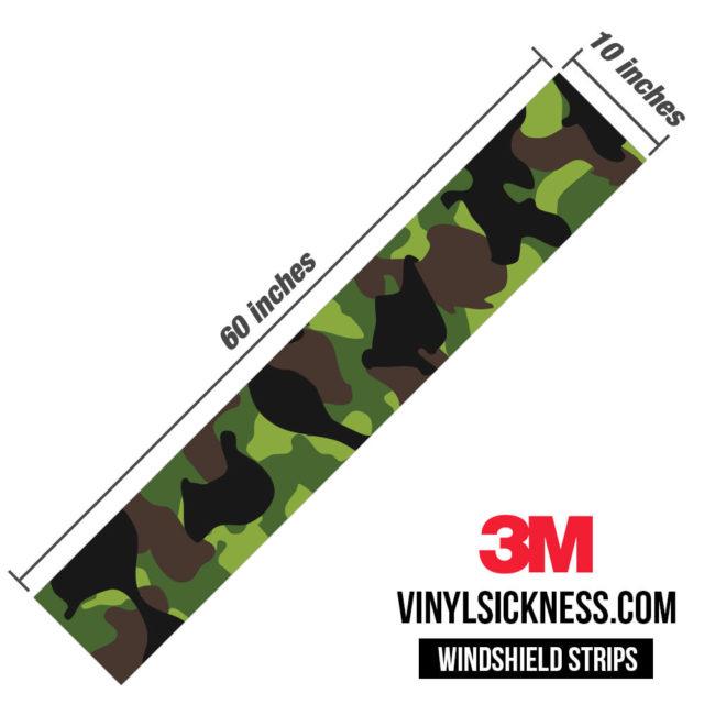 Jdm Premium Windshield Strip Banner Camo Jungle Dimensions