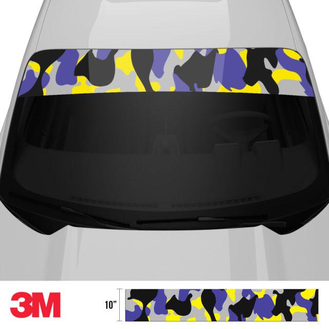 Jdm Premium Windshield Strip Banner Camo Lavender Front 2