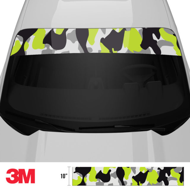 Jdm Premium Windshield Strip Banner Camo Lemon Front 2