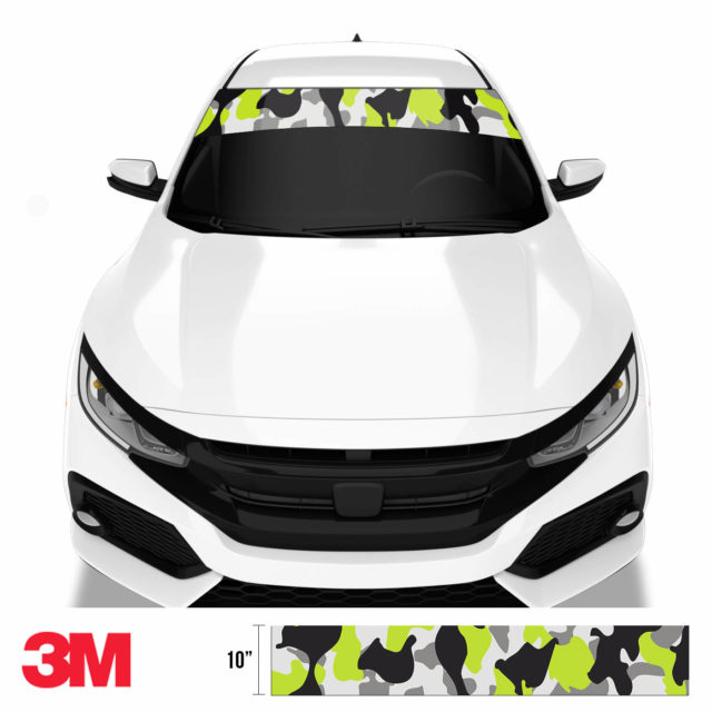Jdm Premium Windshield Strip Banner Camo Lemon Front