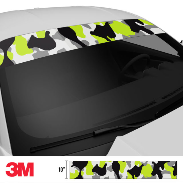 Jdm Premium Windshield Strip Banner Camo Lemon Side 2
