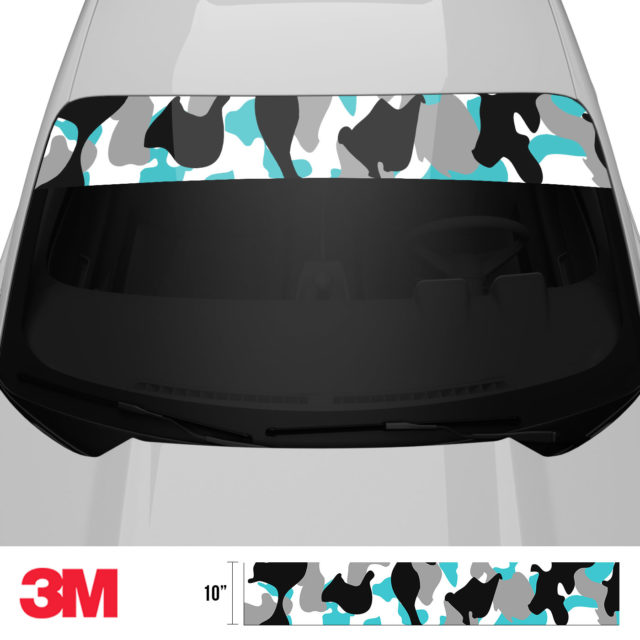 Jdm Premium Windshield Strip Banner Camo Light Blue Front 2