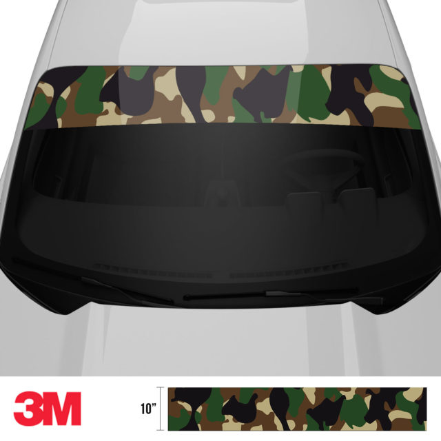 Jdm Premium Windshield Strip Banner Camo Military Front 2