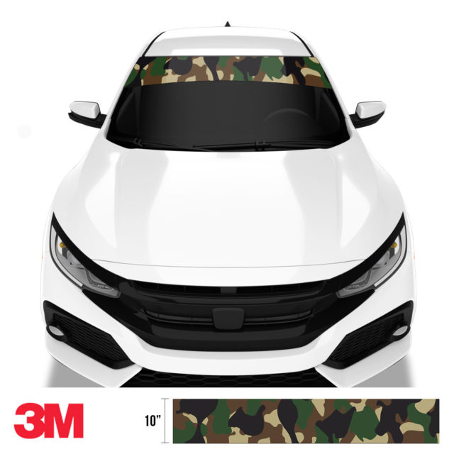 Jdm Premium Windshield Strip Banner Camo Military Front