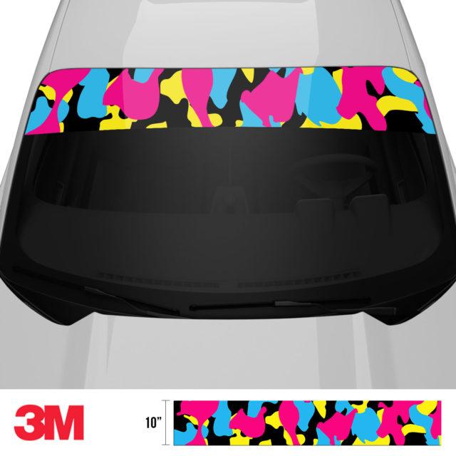 Jdm Premium Windshield Strip Banner Camo Neon Party Front 2