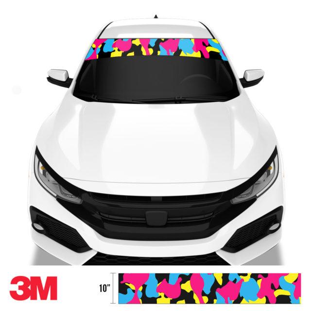 Jdm Premium Windshield Strip Banner Camo Neon Party Front